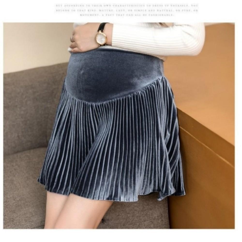 韓系華麗托腹裙 【S6781】 金屬光澤 絲絨 孕婦短裙 金絲絨 百褶裙 孕婦托腹裙 孕婦裝