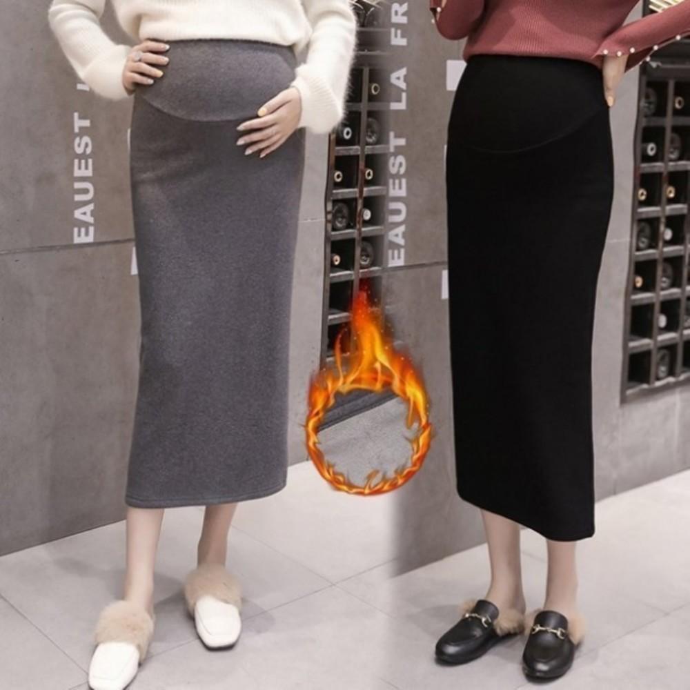 S7002 - 漂亮小媽咪 加厚托腹裙 【S7002】 保暖 孕婦裝 長裙 高腰 可調節腰圍 刷絨 托腹 孕婦裙