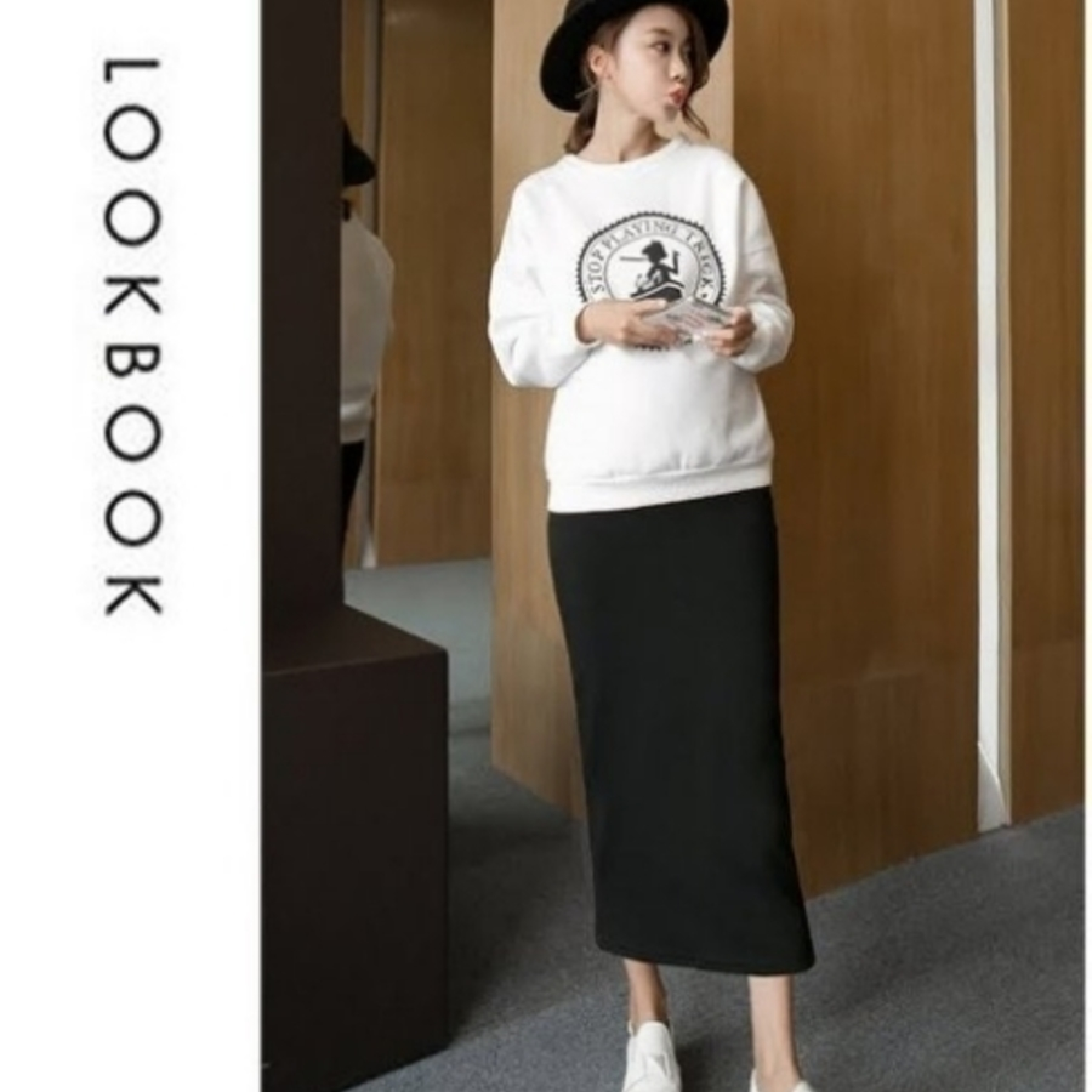 韓系托腹裙 【S7003SN】 孕婦裝 長裙 高腰 可調節腰圍 托腹 孕婦裙