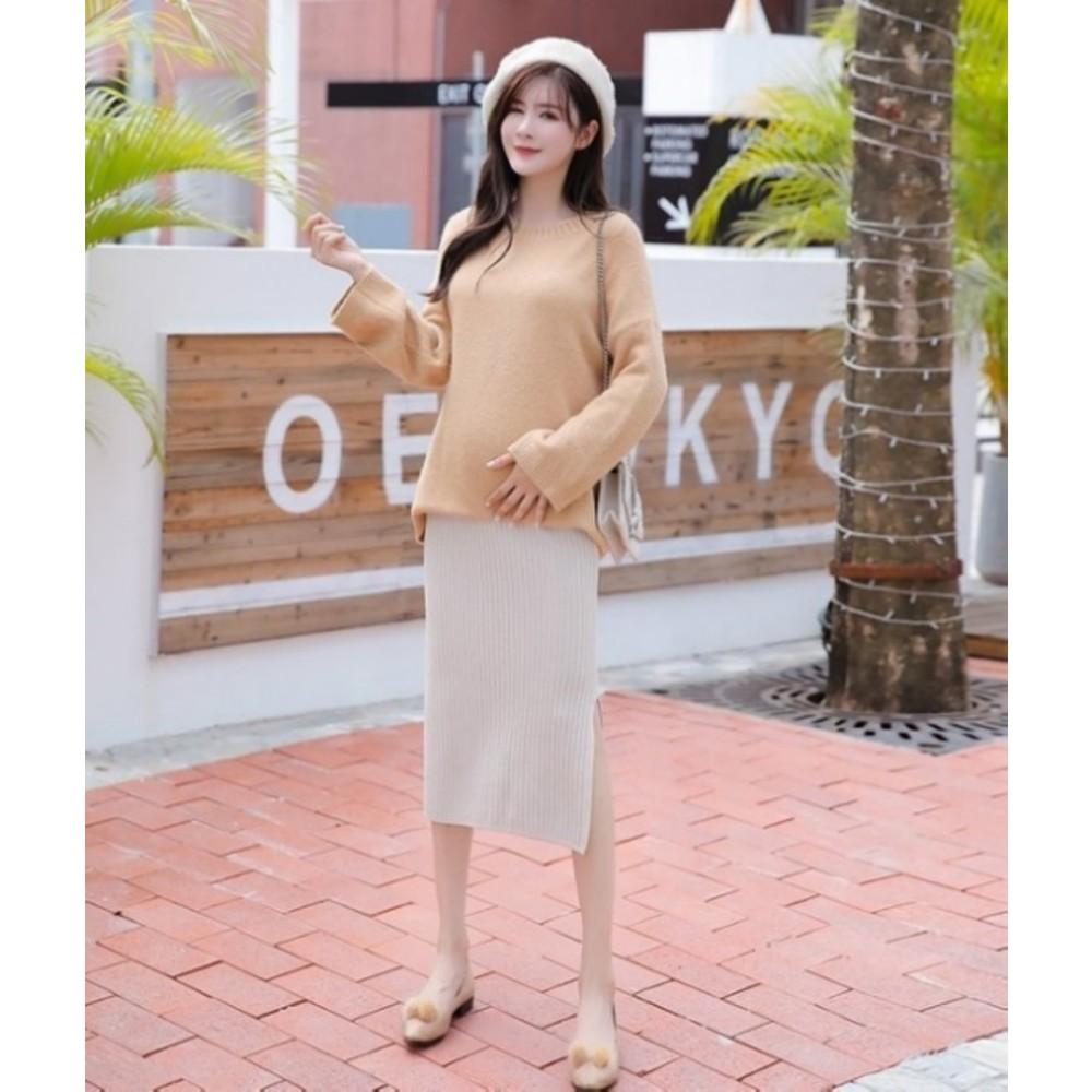 韓系 托腹裙 【S7005】 厚棉織 開叉 保暖 孕婦裝 長裙 高腰 托腹 孕婦裙 針織裙