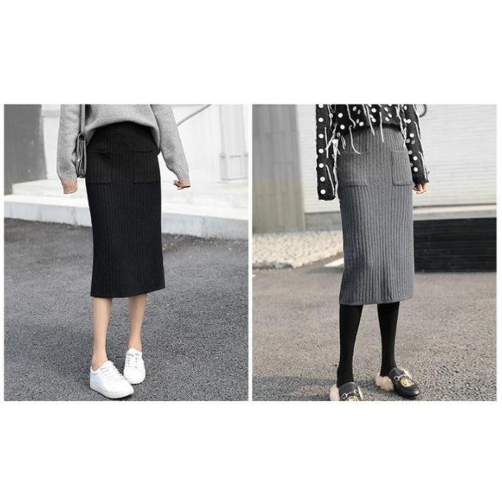 實拍 韓系 托腹裙【S7750】 秋冬 孕婦 高腰 托腹 半身裙 孕婦 坑條 針織 包臀裙 開叉