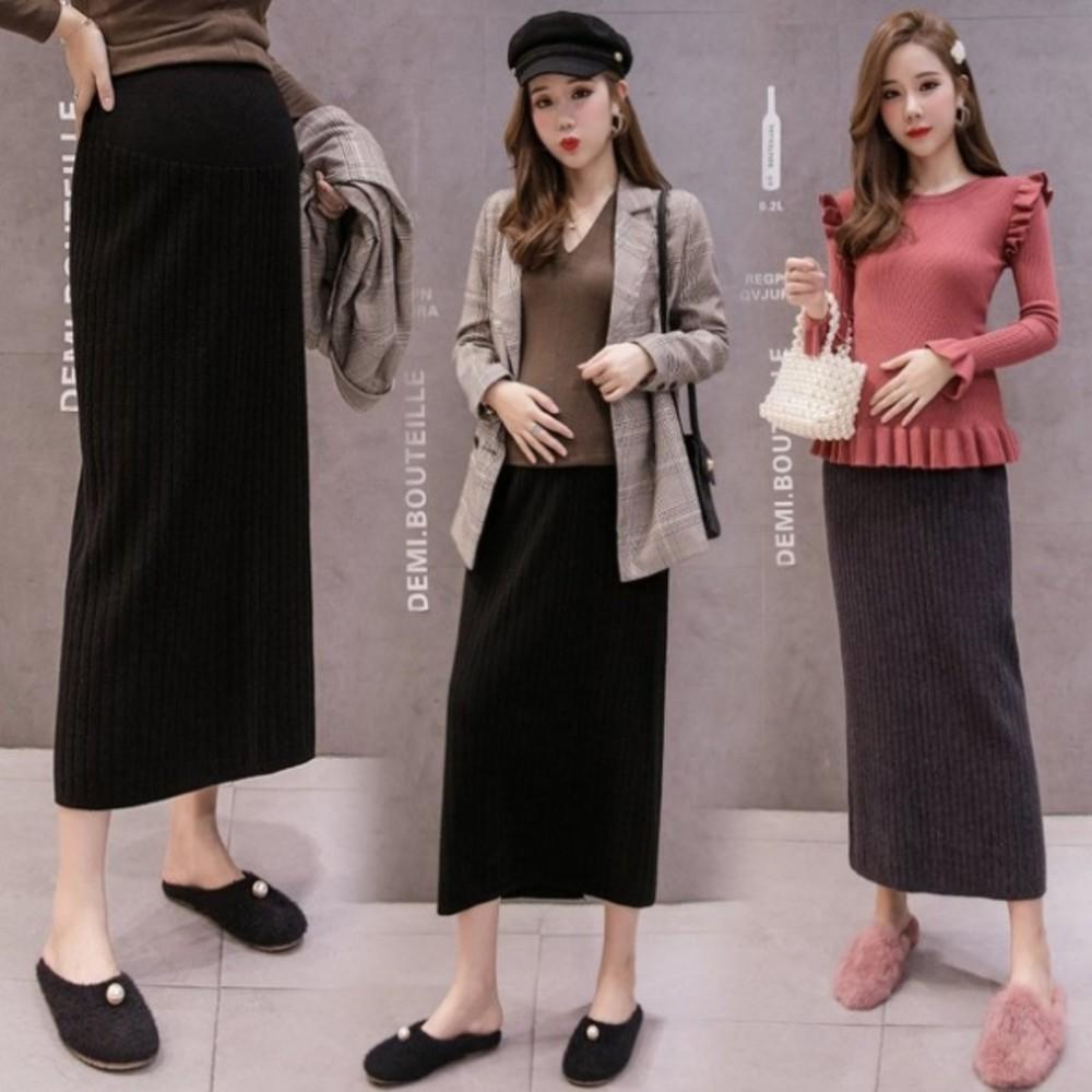 S7752-孕婦 坑條 針織裙 【S7752】托腹 針織 半身裙 韓系 顯瘦 孕婦裝 長裙 包臀 毛線裙
