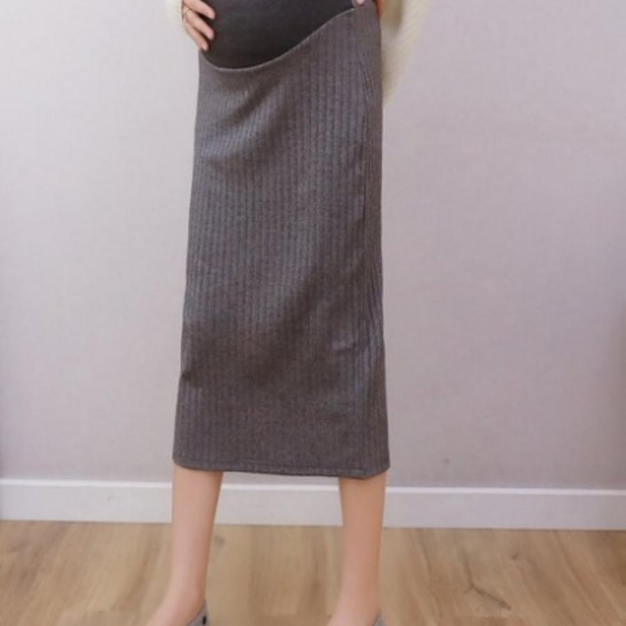 韓系 針織 高腰 托腹裙 【S8900】 開叉 坑條 M-XXL 托腹 孕婦長裙 開岔 半身裙