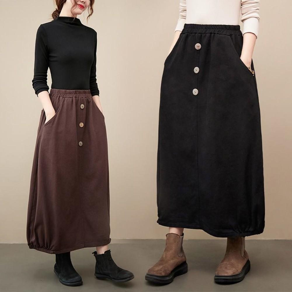 SS5103-文藝 實拍 寬鬆 半身長裙【SS5103】半身裙 鬆緊腰圍 雙口袋 半身裙 休閒裙 長裙