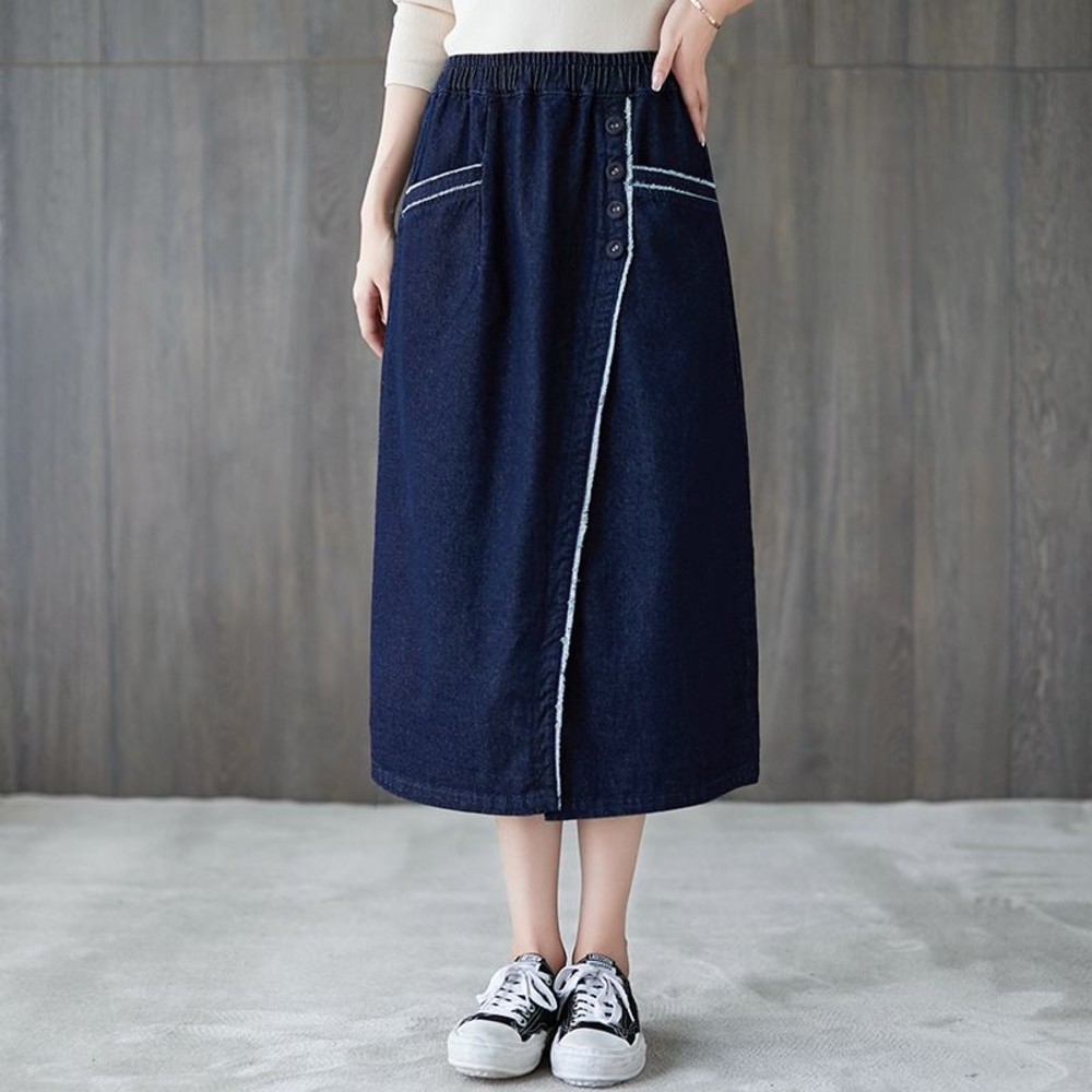 SS5226-韓系 文藝 半身 長裙【SS5226】鬆緊 顯瘦 撞色 休閒 寬鬆 半身裙 牛仔裙