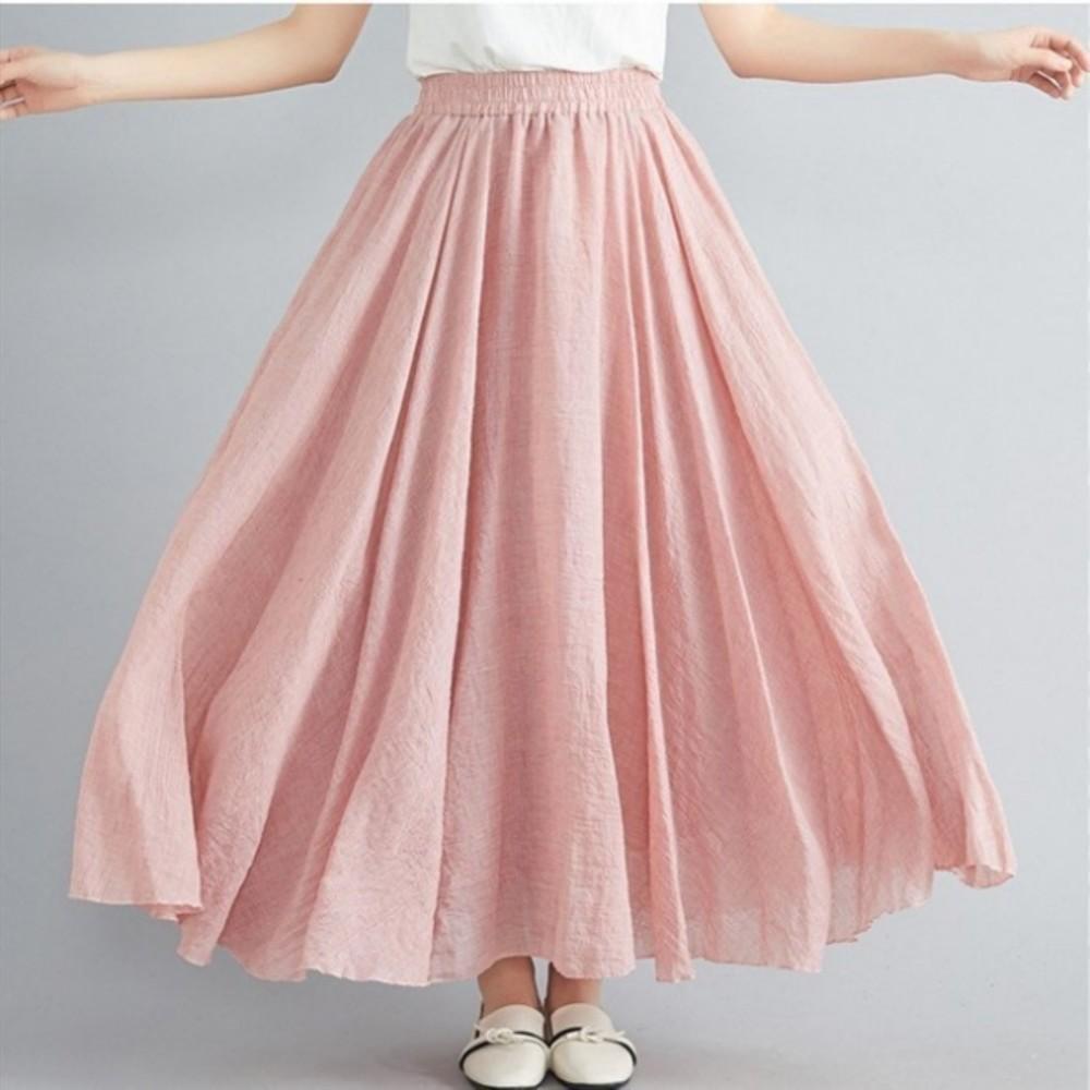 文藝風【SS8073】棉麻 半身裙 鬆緊腰 A字裙 過膝裙 長裙 民族風 大擺裙 20色