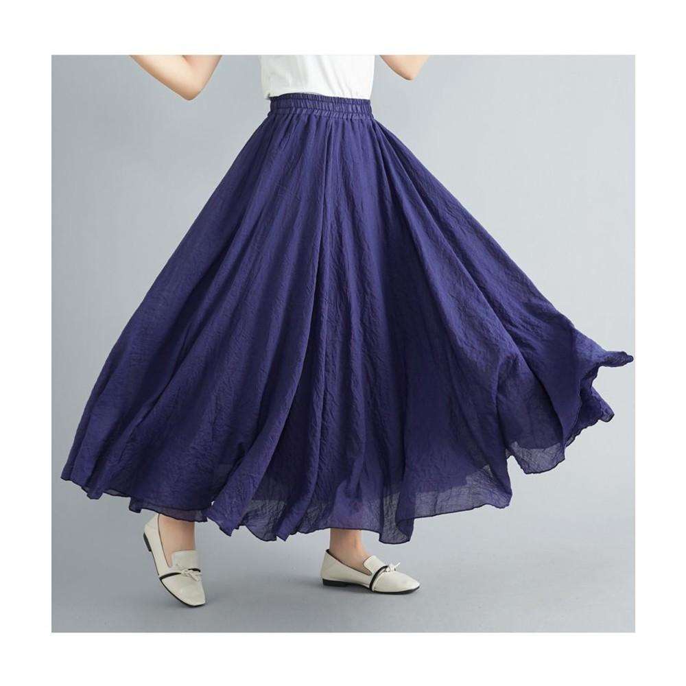 SS8073-NiCELIFE 文藝風【SS8073】棉麻 半身裙 鬆緊腰 A字裙 過膝裙 長裙 民族風 大擺裙 20色